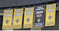 BREAKING: The Saints have unveiled their 2019 banner in the Superdome https://t.co/3KyiFvmzg3: WE WERB  ROBBED  NFC  WORLD  CHAMPIONS CHAMPIONS |CHAMPIONS CHAMPIONS  2006 2009 2009 2009 2019  UPER BOWw  NEW ORLEANS New ORLEANSNEW ORLEANS  NeW ORLEANS  NeW ORLEANS  TS SAINTS  SAINTS BREAKING: The Saints have unveiled their 2019 banner in the Superdome https://t.co/3KyiFvmzg3
