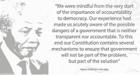 """""""We were mindful from the very start of the importance of accountability to democracy. Our experience had made us acutely aware of the possible dangers of a government that is neither transparent nor accountable. To this end our Constitution contains several mechanisms to ensure that government will not be part of the problem, but part of the solution."""" ~ Nelson Mandela speaking during the African Regional Workshop of the International Ombudsman Institute, Pretoria, South Africa, 26 August 1996 #LivingTheLegacy #MadibaRemembered   www.nelsonmandela.org www.mandeladay.com archive.nelsonmandela.org: """"We were mindful from the very start  of the importance of accountability  to democracy. Our experience had  made us acutely aware of the possible  dangers of a government that is neither  transparent nor accountable. To this  end our Constitution contains several  mechanisms to ensure that government  will not be part of the problem,  but part of the solution""""  Nelson Rolihlahla Mandela """"We were mindful from the very start of the importance of accountability to democracy. Our experience had made us acutely aware of the possible dangers of a government that is neither transparent nor accountable. To this end our Constitution contains several mechanisms to ensure that government will not be part of the problem, but part of the solution."""" ~ Nelson Mandela speaking during the African Regional Workshop of the International Ombudsman Institute, Pretoria, South Africa, 26 August 1996 #LivingTheLegacy #MadibaRemembered   www.nelsonmandela.org www.mandeladay.com archive.nelsonmandela.org"""