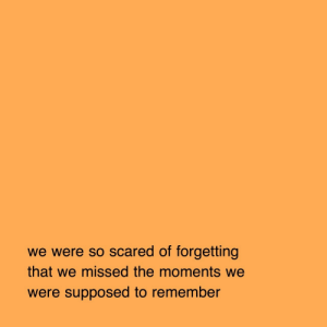 Remember, Scared, and Missed: we were so scared of forgetting  that we missed the moments we  were supposed to remember