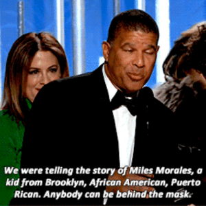Spider, SpiderMan, and Tumblr: We were telling the story of Miles Morales, a  kid from Brooklyn, African American, Puerto  Rican. Anybody can be behind,the mask. oui-ladybug: Peter Ramsey, a director for Spider-Man: Into the Spider-Verseaccepting the Golden Globe for Best Animated Movie