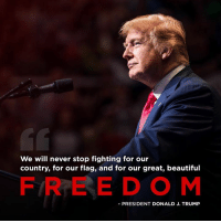 Beautiful, Free, and Trump: We will never stop fighting for our  country, for our flag, and for our great, beautiful  FREE DOM  -PRESIDENT DONALD J. TRUMP We will never give in. We will never give up.