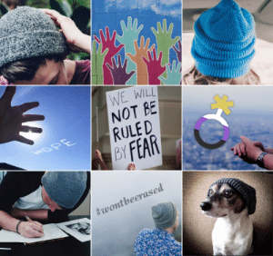 Tumblr, Blog, and Coffee: WE WILL  NOT BE  BY FEAR  plentymood: Transmasc NB + beanies  hope moodboard 🔊 (img source: x) Like my moodboards? Request One / Buy Me a Coffee