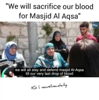 "Guns, Memes, and Muslim: ""We will sacrifice our blood  for Masjid Al Aqsa""  we will all stay and defend masjid Al-Aqsa  till our very last drop of blood  IG I muslim.dily  mustin.caI The strength of the women of Masjid Al Aqsa is something beyond measure. They square up to the Zionists cowards carrying guns and confront them where they can. They go out and defend their sons and their brothers when they are being arrested by the Zionists soldiers. They fear none but Allah. May Allah protect them and liberate them from their oppression."