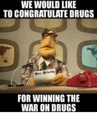 "Drugs, Tumblr, and Blog: WE WOULD LIKE  TO CONGRATULATE DRUGS  FOR WINNING THE  WAR ON DRUGS <p><a href=""http://ragecomicsbase.com/post/158798149117/job-well-done-drugs"" class=""tumblr_blog"">rage-comics-base</a>:</p>  <blockquote><p>Job well done, drugs</p></blockquote>"