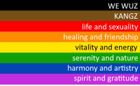Vitality: WE WUZ  KANGZ  life and sexuality  healing and friendship  vitality and energy  serenity and nature  harmony and artistry  spirit and gratitude