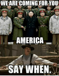 America, Memes, and Best: WEARE COMING FOR YOU  AMERICA  SAY WHEN Sometimes played-out memes make the best memes.