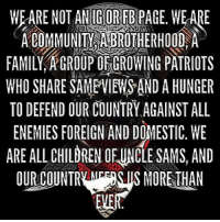 "Community, Memes, and Pussy: WEARENOTANIGOREBRAGE. WEARE  COMMUNITY  BROTHERHOOD A  FAMILY, GROUP OEGROWING PATRIOTS  WHO SHARE SANEVIEWSAND A HUNGER  TO DEFEND OUR COUNTRY AGAINSTALL  ENEMIES FOREIGN AND DOMESTIC. WE  ARE ALL CHILORENOFUNCLESAMS, AND  OUR COUNTR MORETHAN 🇺🇸 This Uncle Sam's Misguided Children IG house! There may be some like it, but this one is ours. Everyone is welcome in our house, All will be treated with equal parts ridicule and amity. If you offend easily, let us extend graciousness as host's and warn you that this will be the house of pain. This home will make you cringe, laugh, swell, rage and slam your fist to the table and say, ""Fuck Yeah"". Dis-courteousness to your host and the other guests will ensure your visit is brief. Thanks to the bloodshed of America's freedom fighters you have the right to stay and enjoy, or crawl back to your cave and fuck yourself. There is no tangible key to this house. Your place here is designated by your love for our country, support and defend the constitution, support our Military and our Veterans, respect our Flag, your willingness to stand up and speak out against tyranny and the boldness in which you proclaim ""I AM AN UNCLE SAM'S MISGUIDED CHILD"". This house remains harmonious only under the cacophony of insults and total disregard for political correctness ingrained into every Marine, Sailor, Airmen, Soldier, Veteran, and Active that has served and our faithful civilian 3% force. We Uncle Sam's Misguided Children don't just run towards the sound of chaos- we are the chaos, and chaos is not for pussies. It's understood that not everyone will like this house and in that case, go hang out with the hippy snowflake down the street. He doesn't have a job so I know he is there. To the flag waving, God fearing, Freedom loving Patriots, Welcome to our house!! 👊🏽💀👍🏽 UncleSamsMisguidedChildren 🇺🇸 Check out our store. Link in bio. 🇺🇸 LIKE our Facebook page 🇺🇸 Subscribe to our YouTube Channel 🇺🇸 Visit our website for more News and Information. 🇺🇸 www.UncleSamsMisguidedChildren.com 🇺🇸 Tag and Join our Misguided Family @unclesamsmisguidedchildren Use code USMCNATION10 for 10% off MisguidedLife MisguidedNation USMCNation Apparel ProGun 2A Tactical MAGA BackTheBlue coastguard AirForce Gun Ammo 1775 USMC us 0311 army navy Navy Veterans K9 veteran pewpew murica merica america usa"