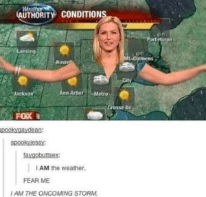 The Weather, Weather, and Fear: Weat  AUTHORITY CONDITION  ort Hurpn  Lansing  t-Clemens  Howe  Jackson  nn ArborMetro  rosse dle  FOX  pookygaydean:  faygobuttsex  I AM the weather.  FEAR ME  I AM THE ONCOMING STORM Weather Authority