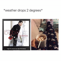Christmas, Memes, and Weather: *weather drops 2 degrees  micha  mas  ng To Look A Lot Like Christmas