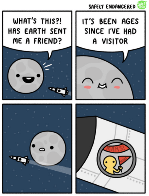 Dank, Memes, and Target: WEB  SAFELY ENDANGEREDO  WHAT'S THIS?!  IT'S BEEN AGES  SINCE I'VE HAD  HAS EARTH SENT  ME A FRIEND?  A VISITOR  MARS me🌕irl by cringy_flinchy FOLLOW 4 MORE MEMES.