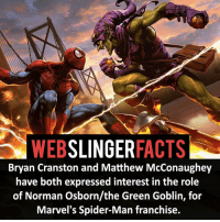 Bryan Cranston, Facts, and Green Goblin: WEB  SLINGER  FACTS  Bryan Cranston and Matthew McConaughey  have both expressed interest in the role  of Norman Osborn/the Green Goblin, for  Marvel's Spider-Man franchise. ▲▲ - Who would you want to play Green Goblin in the MCU? - My other IG accounts @factsofflash @yourpoketrivia @facts_of_heroes ⠀⠀⠀⠀⠀⠀⠀⠀⠀⠀⠀⠀⠀⠀⠀⠀⠀⠀⠀⠀⠀⠀⠀⠀⠀⠀⠀⠀⠀⠀⠀⠀⠀⠀⠀⠀ ⠀⠀----------------------- spiderman peterparker tomholland marvelfacts spidermanfacts webslingerfacts venom carnage avengers xmen justiceleague marvel homecoming tobeymaguire andrewgarfield ironman spiderman2099 civilwar auntmay like gwenstacy maryjane deadpool miguelohara hobgoblin milesmorales like4like