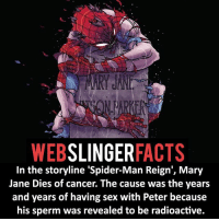 ▲▲ - What a way to go out! - My other IG accounts @factsofflash @yourpoketrivia @facts_of_heroes ⠀⠀⠀⠀⠀⠀⠀⠀⠀⠀⠀⠀⠀⠀⠀⠀⠀⠀⠀⠀⠀⠀⠀⠀⠀⠀⠀⠀⠀⠀⠀⠀⠀⠀⠀⠀ ⠀⠀----------------------- spiderman peterparker tomholland marvelfacts spidermanfacts webslingerfacts venom carnage avengers xmen justiceleague marvel homecoming tobeymaguire andrewgarfield ironman spiderman2099 civilwar auntmay like gwenstacy maryjane deadpool miguelohara hobgoblin milesmorales like4like: WEB  SLINGER  FACTS  In the storyline 'Spider-Man Reign', Mary  Jane Dies of cancer. The cause was the years  and years of having sex with Peter because  his sperm was revealed to be radioactive. ▲▲ - What a way to go out! - My other IG accounts @factsofflash @yourpoketrivia @facts_of_heroes ⠀⠀⠀⠀⠀⠀⠀⠀⠀⠀⠀⠀⠀⠀⠀⠀⠀⠀⠀⠀⠀⠀⠀⠀⠀⠀⠀⠀⠀⠀⠀⠀⠀⠀⠀⠀ ⠀⠀----------------------- spiderman peterparker tomholland marvelfacts spidermanfacts webslingerfacts venom carnage avengers xmen justiceleague marvel homecoming tobeymaguire andrewgarfield ironman spiderman2099 civilwar auntmay like gwenstacy maryjane deadpool miguelohara hobgoblin milesmorales like4like
