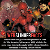 """▲▲ - """"Today was a good day""""! - My other IG accounts @factsofflash @yourpoketrivia @facts_of_heroes ⠀⠀⠀⠀⠀⠀⠀⠀⠀⠀⠀⠀⠀⠀⠀⠀⠀⠀⠀⠀⠀⠀⠀⠀⠀⠀⠀⠀⠀⠀⠀⠀⠀⠀⠀⠀ ⠀⠀----------------------- spiderman peterparker tomholland marvelfacts spidermanfacts webslingerfacts venom carnage avengers xmen justiceleague marvel homecoming tobeymaguire andrewgarfield ironman spiderman2099 civilwar auntmay like gwenstacy maryjane deadpool miguelohara hobgoblin milesmorales like4like: WEB  SLINGER  FACTS  Peter Parker first graduated highschool in 1965  (in """"The Amazing Spider-Man' #28), while in the  same issue the most popular girl in school, Liz Allen,  confessed to having a crush on him. ▲▲ - """"Today was a good day""""! - My other IG accounts @factsofflash @yourpoketrivia @facts_of_heroes ⠀⠀⠀⠀⠀⠀⠀⠀⠀⠀⠀⠀⠀⠀⠀⠀⠀⠀⠀⠀⠀⠀⠀⠀⠀⠀⠀⠀⠀⠀⠀⠀⠀⠀⠀⠀ ⠀⠀----------------------- spiderman peterparker tomholland marvelfacts spidermanfacts webslingerfacts venom carnage avengers xmen justiceleague marvel homecoming tobeymaguire andrewgarfield ironman spiderman2099 civilwar auntmay like gwenstacy maryjane deadpool miguelohara hobgoblin milesmorales like4like"""