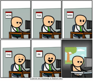 I think most of us can relate to this.: WED  MON  TUE  FRI  THU  Cyanide and Happiness O Explosm.net I think most of us can relate to this.