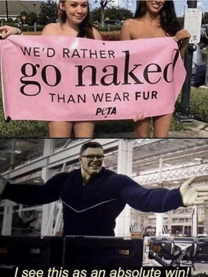 i see this as an |win| by m-tth—–w MORE MEMES: WE'D RATHER  go naked  THAN WEAR FUR  РЕТА  see this as an absolute win! i see this as an |win| by m-tth—–w MORE MEMES