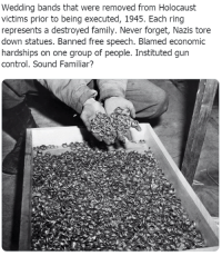 Holocaust: Wedding bands that were removed from Holocaust  victims prior to being executed, 1945. Each ring  represents a destroyed family. Never forget, Nazis tore  down statues. Banned free speech. Blamed economic  hardships on one group of people. Instituted gun  control. Sound Familiar?