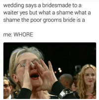 This is the funniest meme I've seen in days: wedding says a bridesmade to a  waiter yes but what a shame what a  shame the poor grooms bride is a  me: WHORE This is the funniest meme I've seen in days
