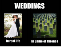 WEDDINGS  In real life  In Game of Thrones That's why I'm not getting married 😉