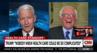WEDNESDAY 9PM ET  McCAIN & GRAHAM  TOWN HALL  2 DAYS  HEALTH CARE STANDOFF  LIVE  TRUMP NOBODY KNEW HEALTHCARE COULD BESOCOMPLICATED CNN  8:38 PM ET  DOESN'T WIN OSCARS ANY AWARDS FOR RATINGS THE 89TH ANNUAL A AC360 funny Who Knew?