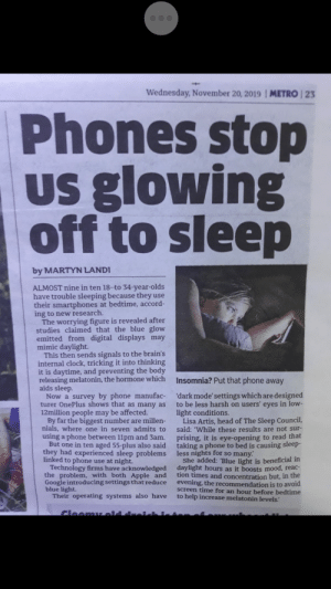 My dad sent me this saying 'worth reading' Guys please help, why my dad, Why! He has been corrupted by boomer ways.: Wednesday, November 20, 2019  METRO 23  Phones stop  Us glowing  off to sleep  by MARTYN LANDI  ALMOST nine in ten 18--to 34-year-olds  have trouble sleeping because they use  their smartphones at bedtime, accord-  ing to new research.  The worrying figure is revealed after  studies claimed that the blue glow  emitted from digital displays may  mimic daylight.  This then sends signals to the brain's  internal clock, tricking it into thinking  it is daytime, and preventing the body  releasing melatonin, the hormone which  aids sleep.  Now a survey by phone manufac-  turer OnePlus shows that as many as  12million people may be affected.  By far the biggest number are millen-  nials, where one in seven admits to  using a phone between 11pm and 3am.  But one in ten aged 55-plus also said  they had experienced sleep problems  linked to phone use at night.  Technology firms have acknowledged  the problem, with both Apple and  Google introducing settings that reduce  blue light.  Their operating systems also have  Insomnia? Put that phone away  'dark mode' settings which are designed  to be less harsh on users' eyes in low-  light conditions.  Lisa Artis, head of The Sleep Council,  said: 'While these results are not sur  prising, it is eye-opening to read that  taking a phone to bed is causing sleep-  less nights for so many.  She added: 'Blue light is beneficial in  daylight hours as it boosts mood, reac-  tion times and concentration but, in the  evening, the recommendation is to avoid  screen time for an hour before bedtime  to help increase melatonin levels.'  CloomL old dre My dad sent me this saying 'worth reading' Guys please help, why my dad, Why! He has been corrupted by boomer ways.