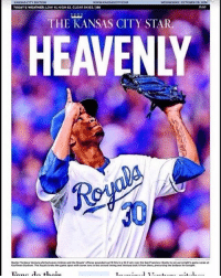 Mlb, Weather, and Kansas City: WEDNESDAY. octoeER2s, zow  S CITY EDITION  WWW KANSAS ITYCOM  TODAY'S WEATHER: LOW 4L HIGH 62.CLEARSKIES IBB  THE KANSAS CITY STAR  HEAVENLY Rest In Peace Yordano Ventura