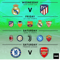 Wow, what a week!: WEDNESDAY  UEFA SUPER CUP  FRIDAY  LA LIGA STARTS  FCB  SATURDAY  SERIE A STARTS  JUUENTUS  ROMA  1927  899  SATURDAY  PREMIER LEAGUE  ELS  Arsenal  OTBALL  GMS Wow, what a week!
