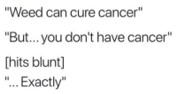 """Weed, Cancer, and Can: """"Weed can cure cancer""""  """"But... you don't have cancer""""  [hits blunt]  """"... Exactly"""""""
