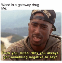 Ass, Bitch, and Fuck You: Weed is a gateway drug  Me:  Owolf  Fuck you, bitch. Why you always  got something negative to say? GTFO witcho negative ass @wolfiememes