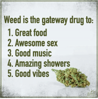 Weed: Weed is the gateway drug to  1. Great food  2. Awesome sex  3, Good music  4. Amazing showers  5. Good vibes