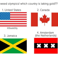 Weed, Amsterdam, and Canada: weed olympics! which country is taking gold??  1. United States  2. Canada  @DankCity  4. Amsterdam  (the Netherlands)  3. Jamaica 🤔 @dankcity