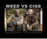 Weed Memes: WEED VS CIGS  Weed Memes com  O DEATHS  DEATHS/DAY  LLEGAL VS LEGAL