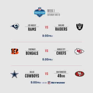 Week 1 of #NFLPreseason finishes up TONIGHT on @nflnetwork!  🏈 #LARvsOAK 🏈 #CINvsKC 🏈 #DALvsSF https://t.co/nowcWoRNII: WEEK 1  PRESEASON  SATURDAY AUG 10  2019  RAIDERS  LOS ANGELES  OAKLAND  VS  RAIDERS  RAMS  8:00PMET  KANSAS CITY  CINCINNATI  1EB  VS  CHIEFS  BENGALS  8:00PMET  DALLAS  SAN FRANCISCO  VS  49ERS  COWBOYS  9:00PMET LIVE ON  NETWORC Week 1 of #NFLPreseason finishes up TONIGHT on @nflnetwork!  🏈 #LARvsOAK 🏈 #CINvsKC 🏈 #DALvsSF https://t.co/nowcWoRNII