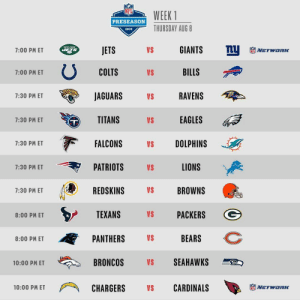 FOOTBALL! 🏈  Week 1 of #NFLPreseason kicks off with 11 games today! https://t.co/ioerSZ2JNb: WEEK 1  PRESEASON  THURSDAY AUG 8  2019  nU  GIANTS  MEW YORK  JETS  VS  7:00 PM ET  NETWORC  COLTS  BILLS  VS  7:00 PM ET  JAGUARS  RAVENS  7:30 PM ET  VS  TITANS  EAGLES  VS  7:30 PM ET  FALCONS  DOLPHINS  7:30 PM ET  VS  LIONS  PATRIOTS  VS  7:30 PM ET  REDSKINS  VS  BROWNS  7:30 PM ET  TEXANS  PACKERS  VS  8:00 PM ET  BEARS  PANTHERS  VS  8:00 PM ET  SEAHAWKS  BRONCOS  VS  10:00 PM ET  CARDINALS  CHARGERS  10:00 PM ET  VS  NETWORIK FOOTBALL! 🏈  Week 1 of #NFLPreseason kicks off with 11 games today! https://t.co/ioerSZ2JNb