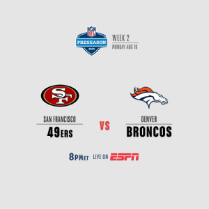Who's ready for Monday Night  🏈?    #SFvsDEN | #NFLPreseason https://t.co/hU2w25pNYn: WEEK 2  PRESEASON  MONDAY AUG 19  2019  SAN FRANCISCO  DENVER  VS  BRONCOS  49ERS  8PMET LIVE ON ESSPM Who's ready for Monday Night  🏈?    #SFvsDEN | #NFLPreseason https://t.co/hU2w25pNYn
