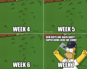 Dallas Cowboys, Football, and Memes: WEEK4  WEEK 5  @NFL MEMES  DEM BOYS ARE BACK BABY!  SUPER BOWL HERE WE COME!  WEEK7  WEEK 6  T S Cowboys fans... https://t.co/0IriZflsbi
