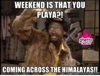 """<p><strong>Weekend is that you playa</strong></p><p><a href=""""http://www.ghettoredhot.com/weekend-meme/"""">http://www.ghettoredhot.com/weekend-meme/</a></p>: WEEKEND IS THAT YOU  PLAYAP!  ghetto  redhot  COMING ACROSS THE HIMALAYAS!! <p><strong>Weekend is that you playa</strong></p><p><a href=""""http://www.ghettoredhot.com/weekend-meme/"""">http://www.ghettoredhot.com/weekend-meme/</a></p>"""