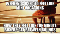 Boxer: WEEKENDSUSED TO FEELLIKE  MINIVACATIONS  NON THEY FEEL LIKE THE MINUTE  BOXERS GET BETWEEN ROUND  MEME EUL.COM