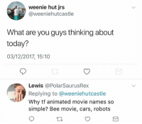 Good evening vrothers how are y'all: weenie hut jrs  @weeniehutcastle  What are you guys thinking about  today?  03/12/2017, 15:10  Lewis @PolarSaurusRex  Replying to @weeniehutcastle  Why tf animated movie names so  simple? Bee movie, cars, robots Good evening vrothers how are y'all