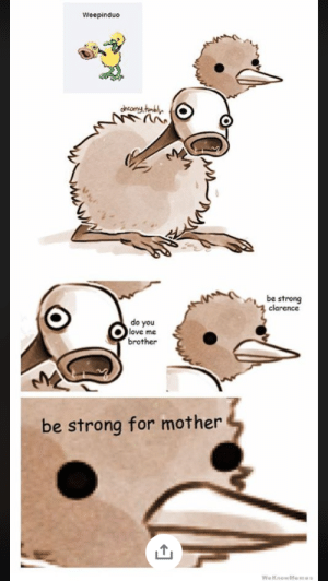 be strong for mother: Weepinduo  chcomy umbl  be strong  2 clarence  do you  love me  brother  be strong for mother  WeKnowMemes