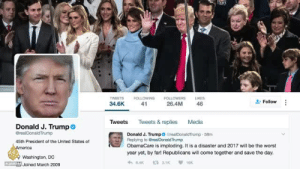 "Shit, Target, and The Worst: WEETSFOLLOWINGFOLLOWERSLIKES  34.6K 41  "" Follow  26.4M  46  Tweets Tweets & replies Media  Donald J. Trump  Donald J. Trump CrealDonaldTrump 58m  Replying to Grea DonaldTrump  ObamaCare is imploding. It is a disaster and 2017 will be the worst  year yet, by far! Republicans will come together and save the day.  45th President of the United States of  erica  Washington, DC  Joined March 2009 kiillemwithkindness:   towersrose: Yes! Thank you for this great vid. Please pay attention people!!! 2019 is gonna be a shit show"