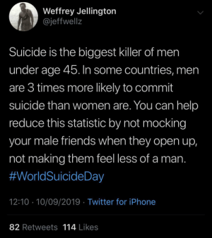 The homies need love too: Weffrey Jellington  @jeffwellz  Suicide is the biggest killer of men  under age 45. In some countries, men  are 3 times more likely to commit  suicide than women are. You can help  reduce this statistic by not mocking  your male friends when they open up,  not making them feel less of a man.  #WorldSuicideDay  12:10 10/09/2019 Twitter for iPhone  82 Retweets  114 Likes The homies need love too