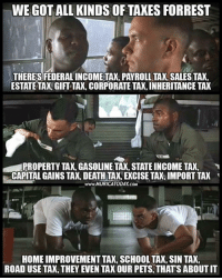 Memes, School, and Taxes: WEGOTALLIKINDS OF TAXES FORREST  ESTATE TAK GIFT TAX, CORPORATE TAX,INHERITANCE TAX  PROPERTY TAX, GASOLINE TAX, STATE INCOME TAX,  www.MURICATODAY com  HOME IMPROVEMENT TAX, SCHOOL TAX,SIN TAX,  ROAD USE TAX, THEY EVEN TAX OUR PETS, THATS ABOUTIT (GC)