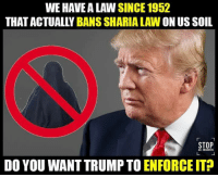 WEHAVEA LAW SINCE 1952  ON US SOIL  STOP  DO YOU WANT TRUMP TO  ENFORCE IT? From our friends at I Believe in Trump ... head on over and show your support with a like & share!   ~dh