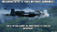 Picture I saved awhile back. Not mine.: WEIGHING IN AT 12 TONS WITHOUT ARMAMENT,  THE A-10 CAN CARRY AN ADDITIONAL 13 TONS OF  WEAPON RY.  made on inngur Picture I saved awhile back. Not mine.