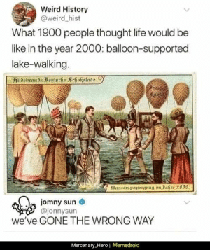 Be Like, Life, and Memes: Weird History  @weird hist  What 1900 people thought life would be  like in the year 2000: balloon-supported  lake-walking.  Busserspuniergnng im ahre 3000  m jomny sun  @jonnysun  we've GONE THE WRONG WAY  Mercenary_Hero| Memedroid We need to go back. via /r/memes https://ift.tt/2IziAuO