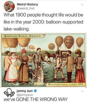 Wrong Way: Weird History  @weird _hist  What 1900 people thought life would be  like in the year 2000: balloon-supported  lake-walking  kutodi  ajonnysun  we've GONE THE WRONG WAY