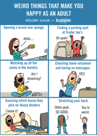 Dank, Laundry, and Weird: WEIRD THINGS THAT MAKE YOU  HAPPY AS AN ADULT  HEDGER HUMOR for babble.  Opening a brand new sponge.  Finding a parking spot  at Trader Joe's.  Oh yeah!  Ahhh  Matching up all the  Checking home voicemail  socks in the laundry.  and having no messages.  Am I  YES!  o) dreaming?  Guessing which house they  Stretching your back.  pick on House Hunters.  Ohhh yeah.  You're  I knew it!  SO GOOD  weird I bought a new dishwasher last year, and it was one of the best moments of 2015.  Adulting is lame.