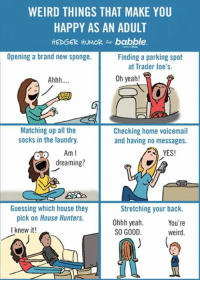 A cartoon I did for Babble about things that make us happy. Do you agree? Any other random/funny things you would add? : ): WEIRD THINGS THAT MAKE YOU  HAPPY AS AN ADULT  HEDGER HUMOR for babble.  Opening a brand new sponge.  Finding a parking spot  at Trader Joe's.  Oh yeah!  Ahhh  Matching up all the  Checking home voicemail  socks in the laundry.  and having no messages.  Am I  YES!  dreaming?  Guessing which house they  Stretching your back.  pick on House Hunters.  Ohhh yeah  You're  I knew it!  SO GOOD  weird A cartoon I did for Babble about things that make us happy. Do you agree? Any other random/funny things you would add? : )