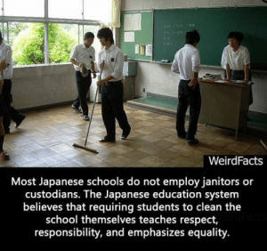 Respect, School, and Tumblr: WeirdFacts  Most Japanese schools do not employ janitors or  custodians. The Japanese education system  believes that requiring students to clean the  school themselves teaches respect  responsibility, and emphasizes equality srsfunny:This Needs To Be A Thing Here In The US