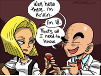 Krillin, Strong, and Eso: Wel  helo  Uhall  there. I'm  Krillin.  l'm I8  Thats all  I needto  Know <p><strong>con eso me doy &gt;: 3</strong></p>